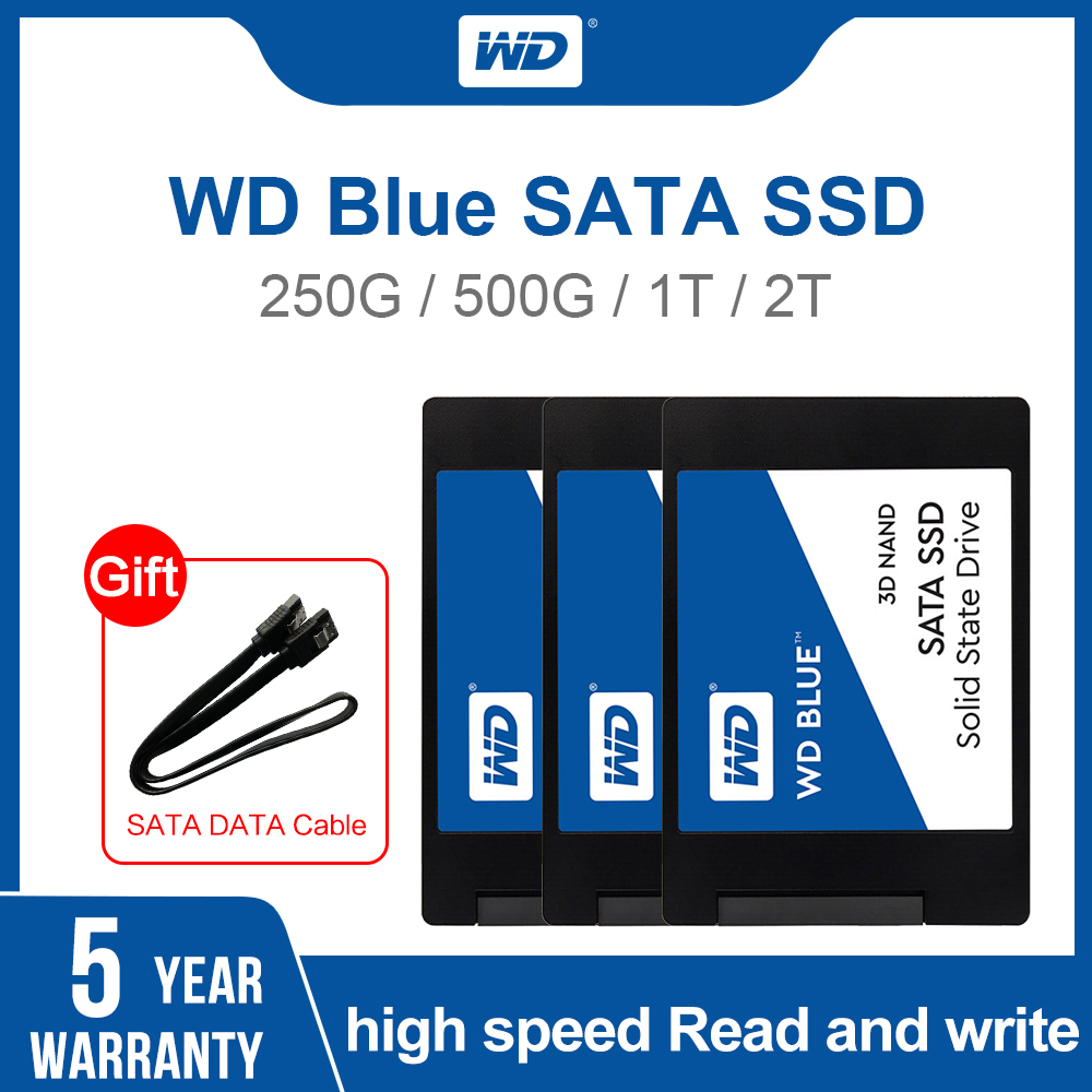 Western Digital Blue 250GB/<font><b>500GB</b></font>/1TB/2TB <font><b>WD</b></font> 3D NAND Internal Solid State <font><b>SSD</b></font> Hard Drive SATA 3.0 6GB/s 2.5 '' For PC Computer image