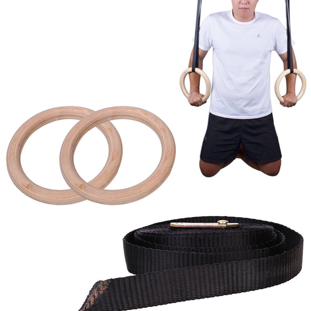 Gymnastic Ring Rings Wooden Exercise Fitness Crossfit Adjustable Gym
