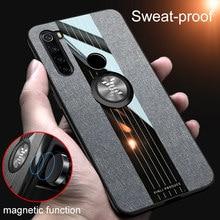Para xiaomi redmi mi nota 5 7 8 t pro 8 t caso capa de telefone anel magnético matte tecido luxo suporte do carro casos pano coque