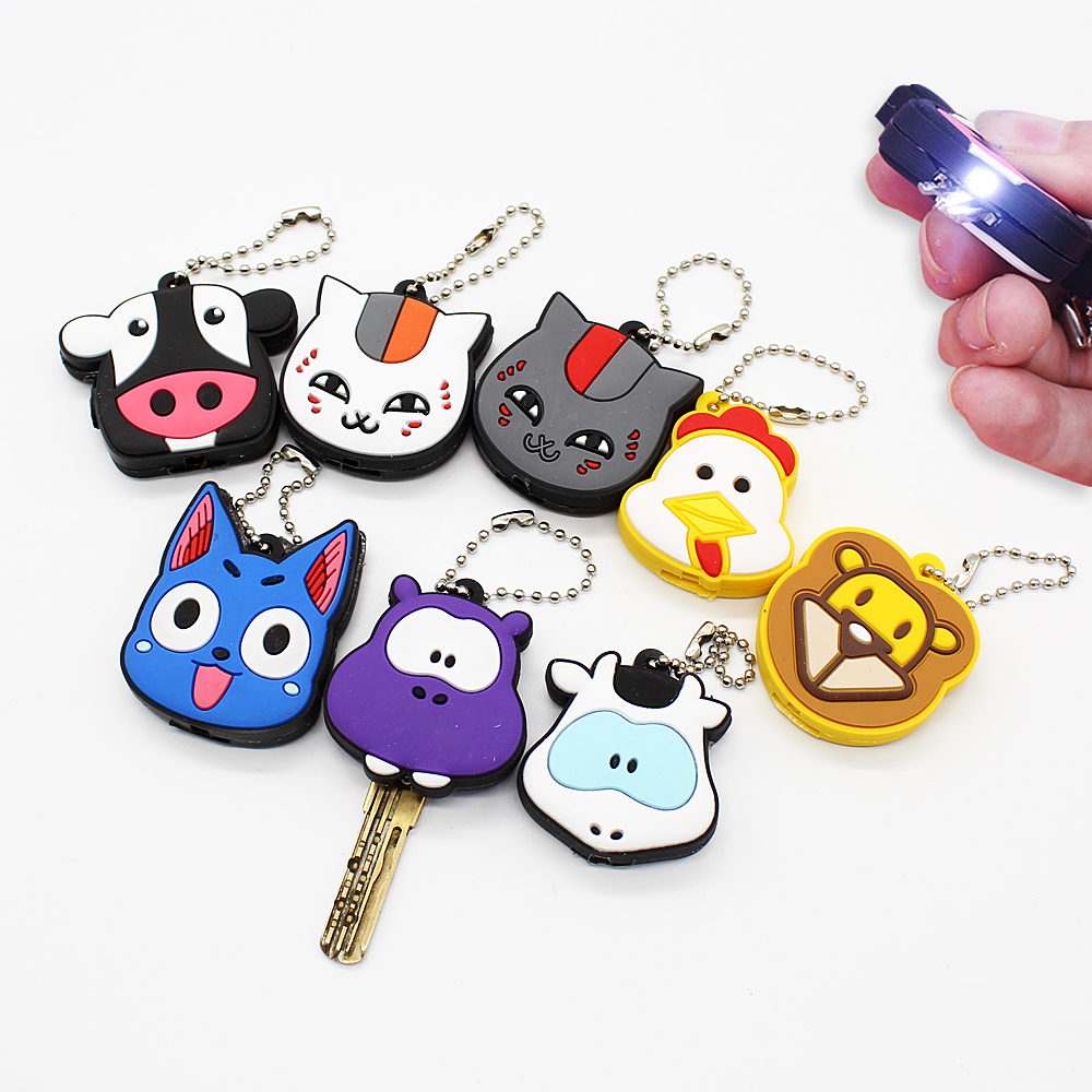 New Creative Silica Gel Protective Key Case Cover With Small LED Light For Key Control Dust Cover Cartoon Key Holder Key Chains