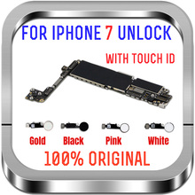 Clean iCloud For iPhone 7 Motherboard With Touch ID Home Button,32G 128G 256G Unlocked Logic board Gold Black White Mainboard