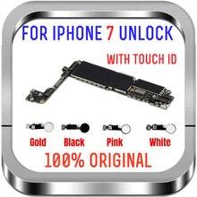 クリーンicloud iphone 7マザーボードタッチidのホームボタン、32グラム128グラム256グラムロック解除ロジックボードゴールド黒、白メインボード