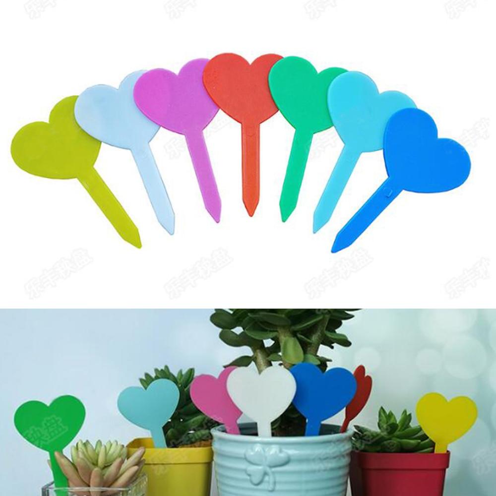 100pcs PP Colorful Heart-shaped Flower Label Garden Succulent Plant Tags Plants Ornaments 4.6*8.2 Cm