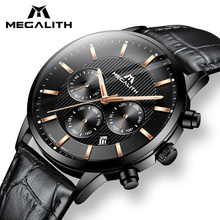 MEGALITH Watch Men Casual Waterproof Chronograph Analog Watch Man Black Genuine Leather Quartz Date Wrists Watch Man Colck 8001