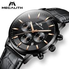 MEGALITH מזדמן גברים שעון עמיד למים הכרונוגרף אנלוגי שעון גבר שחור אמיתי עור קוורץ תאריך פרקי ידיים שעון איש Colck 8001