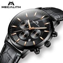 Reloj MEGALITH para hombre, reloj analógico informal a prueba de agua, cronógrafo, reloj de hombre de cuero genuino negro, reloj de cuarzo con fecha, reloj para hombre Colck 8001