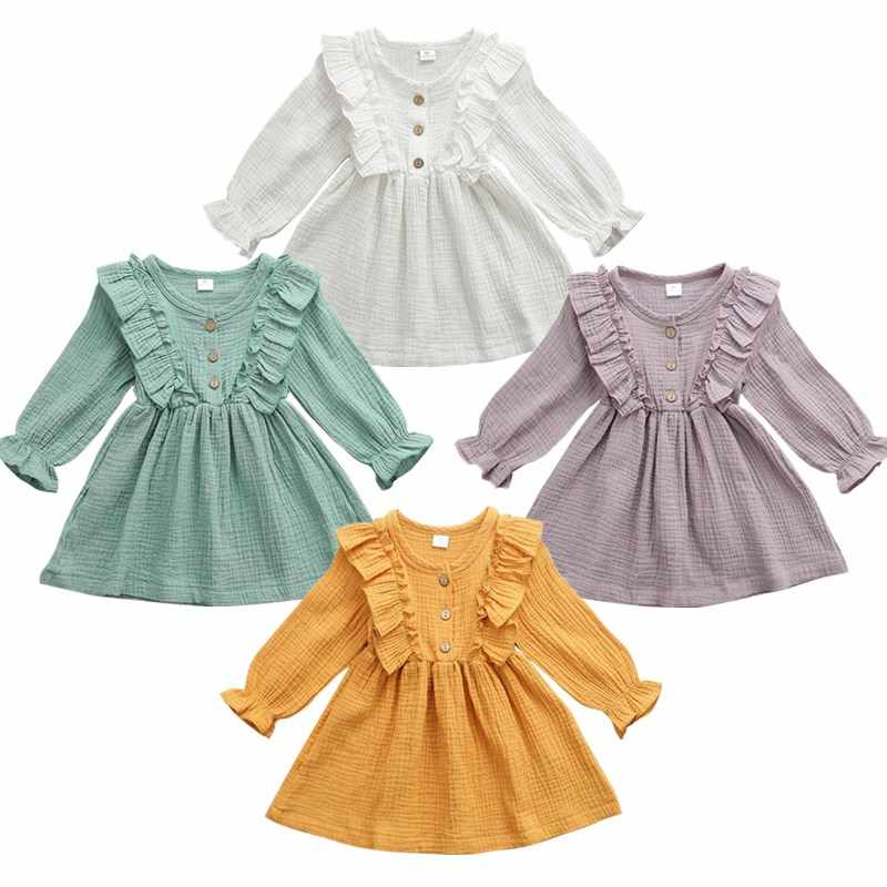 Toddler Kids Baby Girl Solid Ruffles Bow Casual Party Long Sleeve Dress Clothes