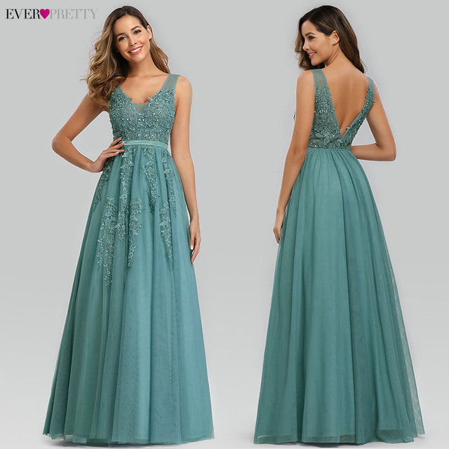 Prom Dresses Long 2020 Ever Pretty Elegant Long V-neck Tulle Lace Applique Sleeveless A-line Hot Selling Vestidos De Graduacion 3