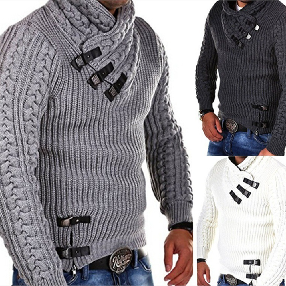 Men's Sweater Fashion Solid Color Leather Buckle Stitching Long Sleeve Slim Sweaters For Men Autumn Winter Male Knitted Pullover