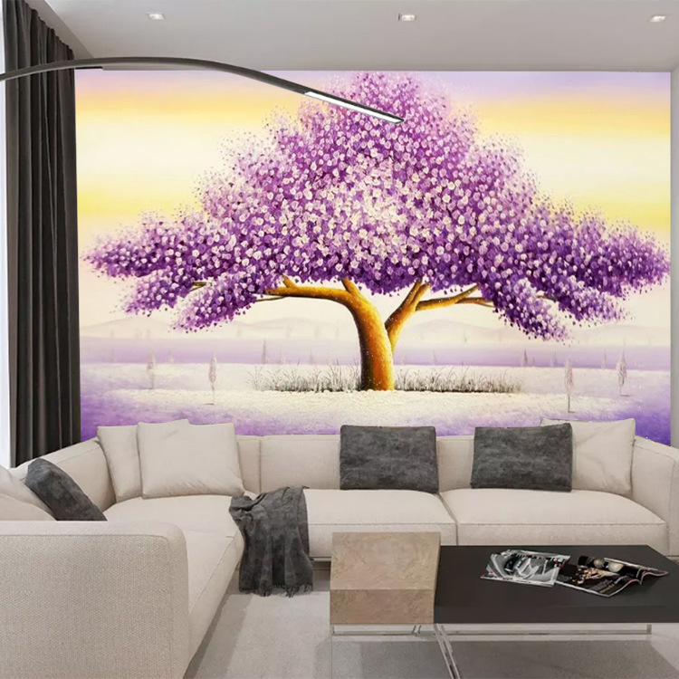 Large 3D Hand-Painted Knife Painting Dreamy Purple Wishing Tree Abstract Art Wall Wallpaper Bedroom Wall Cloth Mural