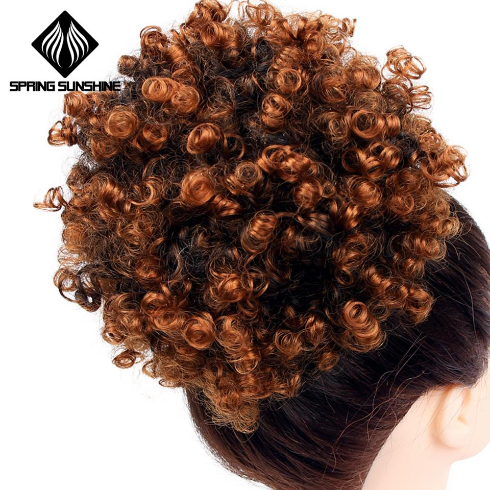 6inch Short Afro Puff Synthetic Hair Bun Chignon Hairpiece For Women Drawstring Ponytail Kinky Curly Updo Hair Extensions