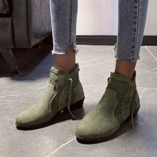 Women Boots Breathable Hollow Out Chelsea Solid Suede Slip On Ankle Army Green Ladies Booties Brogues Low Heels D25