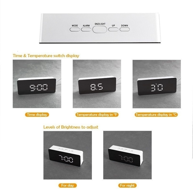 Battery Operated Digital Mirror Alarm Clock with LED Display Used as Night Lights including Temperature Display and Snooze Function 11