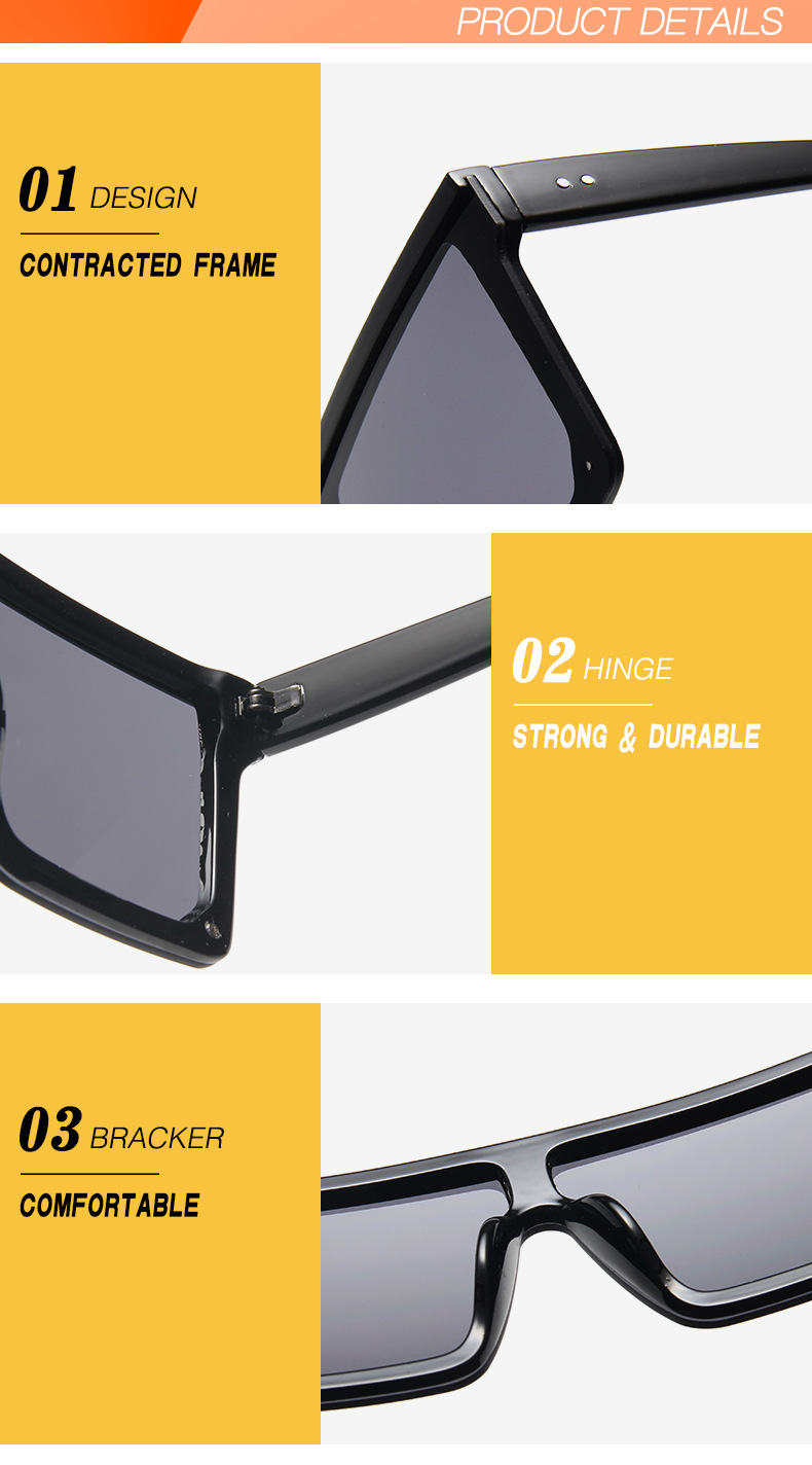 Oversized Square Sunglasses Women 2019 Luxury Brand Fashion Flat Top Red Black Clear Lens One Piece Men Gafas Shade Mirror UV400 (16)