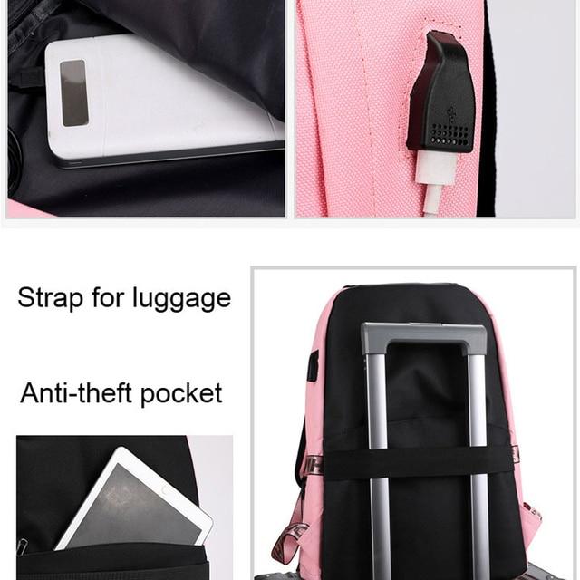 Winmax Luminous USB Charge Women Backpack Fashion Letters Print School Bag Teenager Girls Ribbons Backpack Mochila Sac A Dos 4