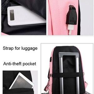 Image 5 - Winmax ışık USB şarj kadın sırt çantası moda mektuplar baskı okul çantası genç kızlar şeritler sırt çantası Mochila kese Dos