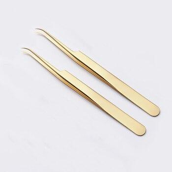 2PC volume lash tweezers professional high precision stainless eyelash tweezers gold eyelash tweezers eyelash extension pincet