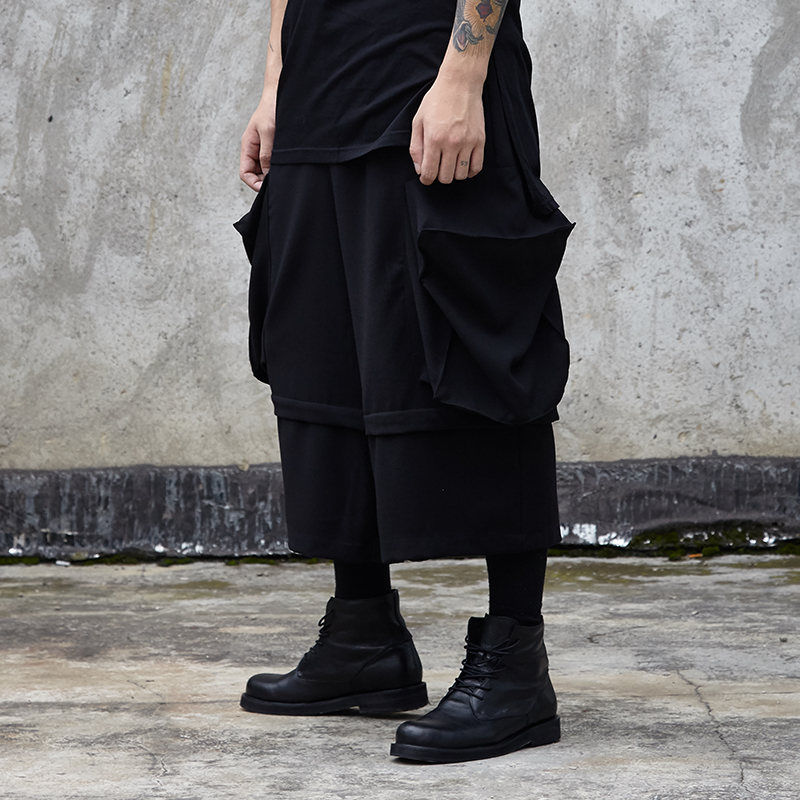 Homme gothique Hip Hop Harem pantalon Kimono pantalon hommes Streetwear grandes poches faux 2 pièces épissure lâche décontracté large jambe Cargo pantalon