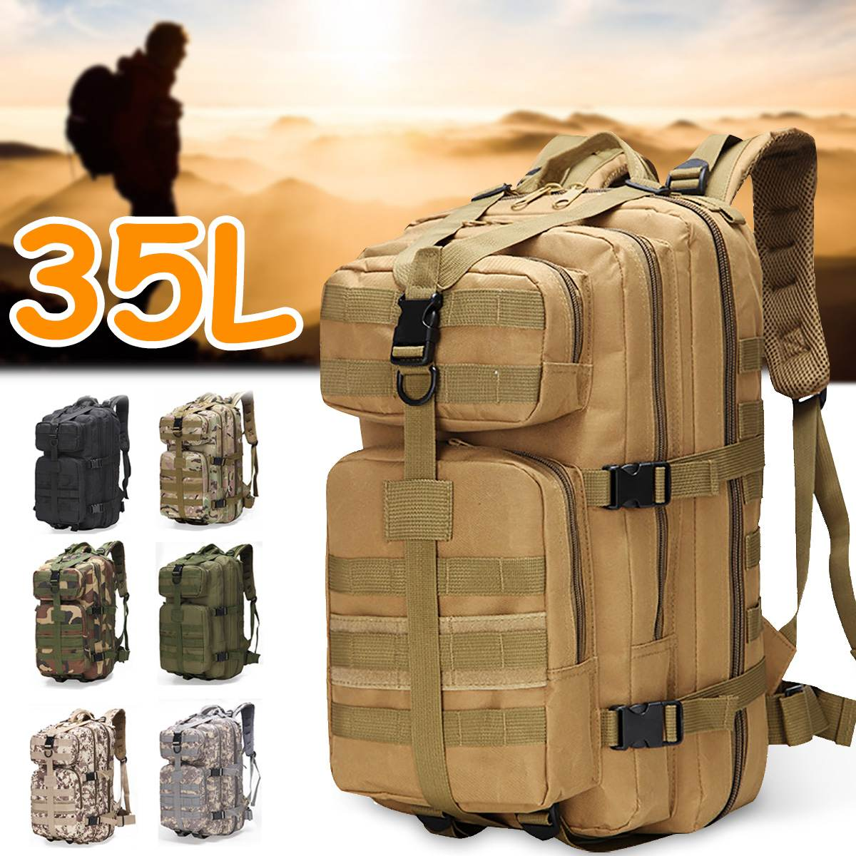 Military Tactical Assault Backpack 35L Waterproof Outdoor Bag Pack Army Rucksack Large Capacity Outdoor Hiking Camping Backpacks