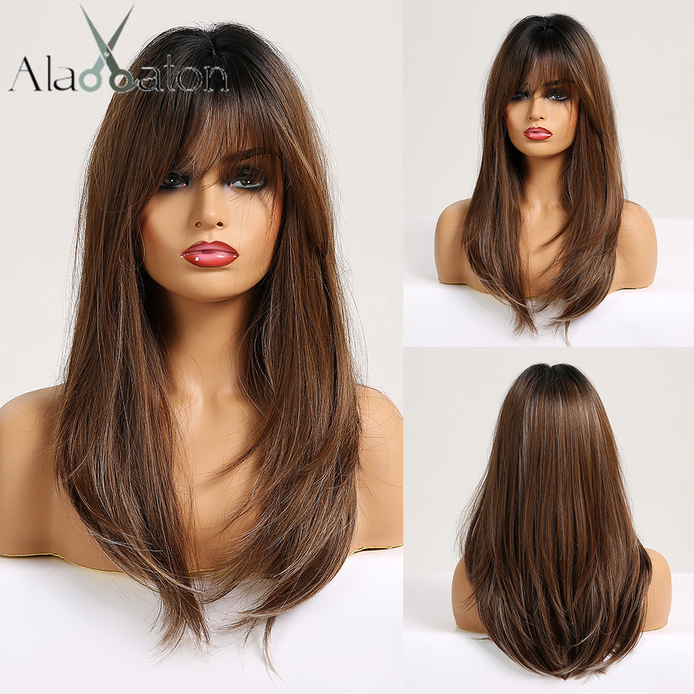 ALAN EATON Synthetic Wigs For Black Women Afro Long Straight Ombre Black Brown Ash Blonde Wig With Bangs Cosplay Layered Wig