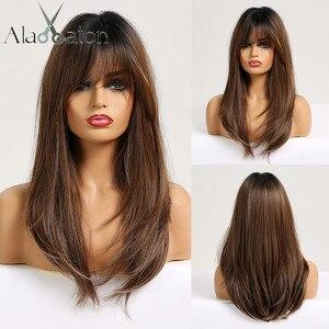 Image 1 - ALAN EATON Tổng Hợp Bộ Tóc Giả cho Nữ Màu Đen Phi Thẳng Dài Ombre Nâu Đen Tro Tóc Vàng tóc giả với Nổ Cosplay Xếp Tầng tóc Giả