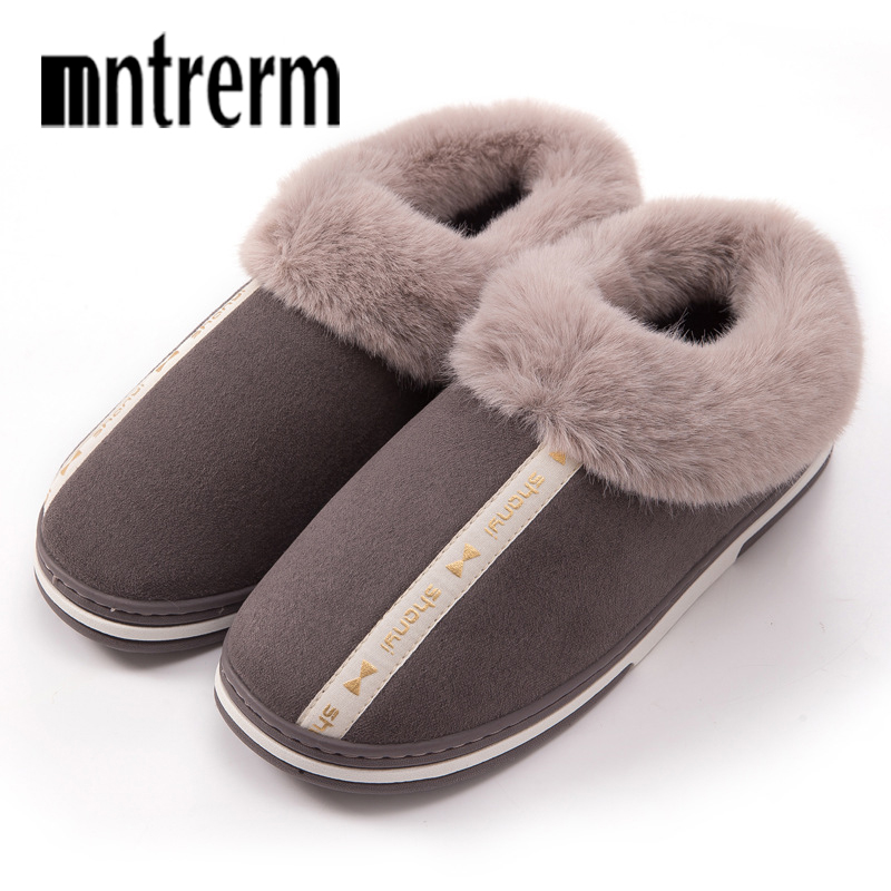 Mntrerm Warm Thick Plush Home Slippers Men Indoor Cotton Shoes Big Size Winter Casual Sneakers For Man Floor Warm Furry Slipper