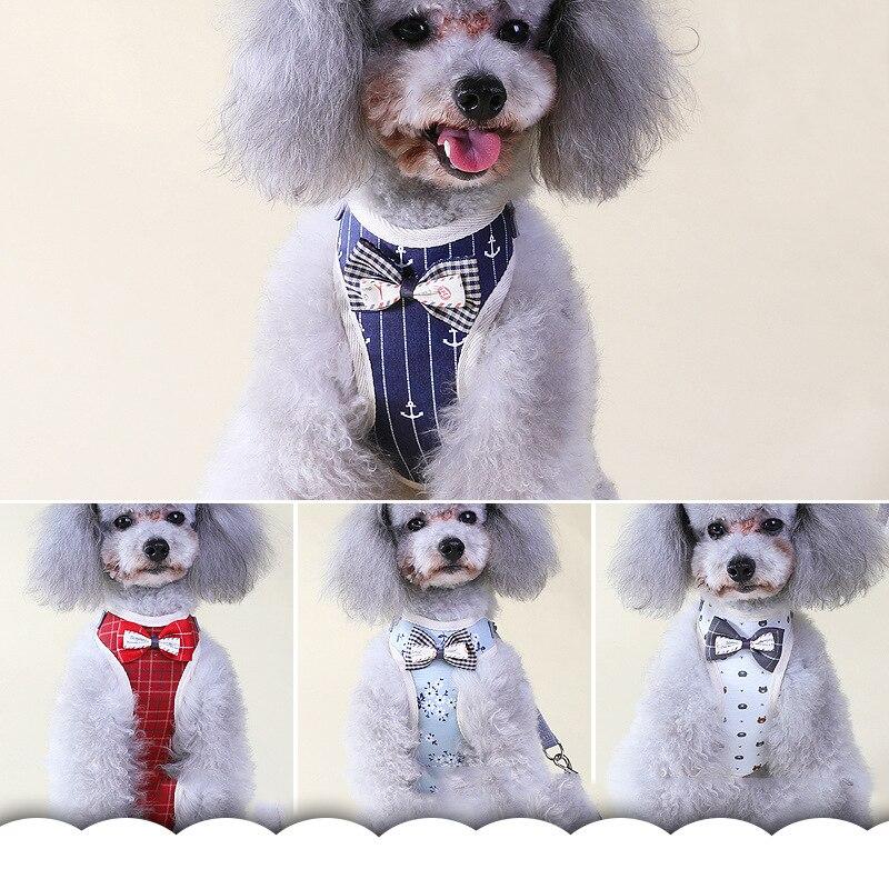 Dog Harness for Chihuahua Pug Small Medium Dogs Nylon Mesh Puppy Cat Harnesses Vest Cute Bowtie Walking Lead Leash Petshop S M L