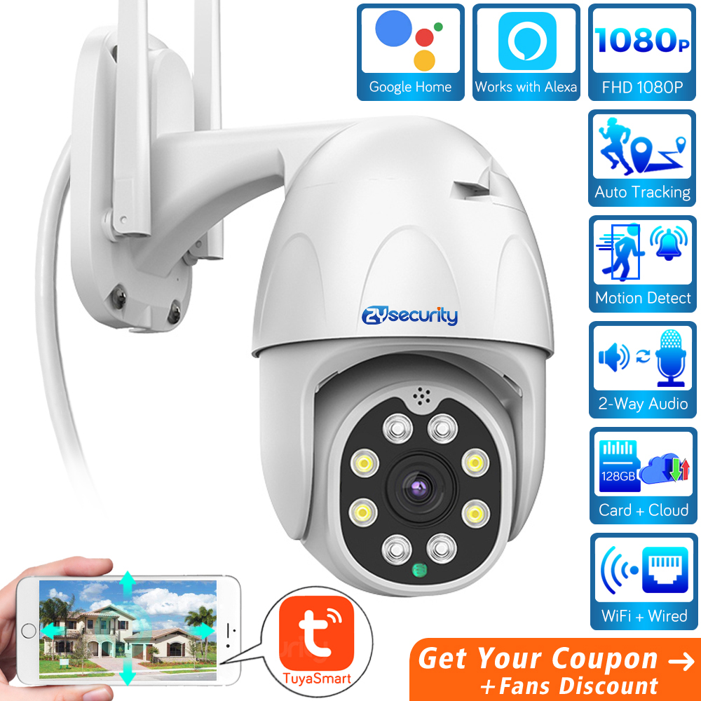TuyaSmart Wifi PTZ Camera Outdoor Works With Alexa Security Wireless Speed Dome Camera Auto Tracking CCTV Surveillance IP Camera