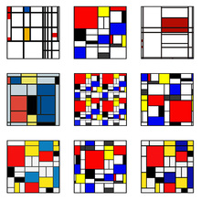 Full Square/Round Drill 5D DIY Diamond Painting Mondrian Grid Abstract Red Blue Yellow Art Embroidery Cross Stitch Home Decor