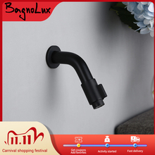 Bagnolux Solid Brass Wall Mounted Mat Black Color Basin Faucet Bathroom Accessories Cold Water Single Handle Round taps