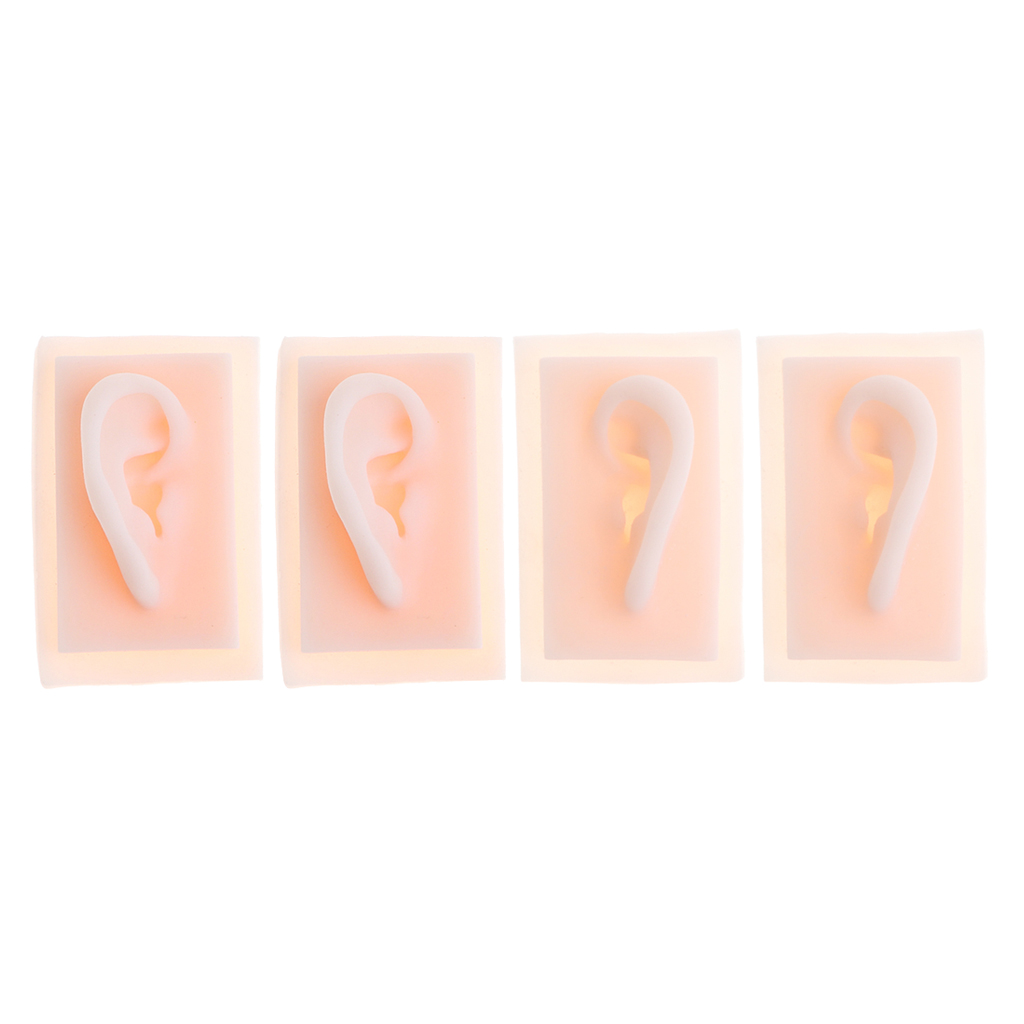 Set Of 2 Pairs 1 : 1 Human Ear Model Life Size Soft Silicone Ear Acupuncture Practice Model
