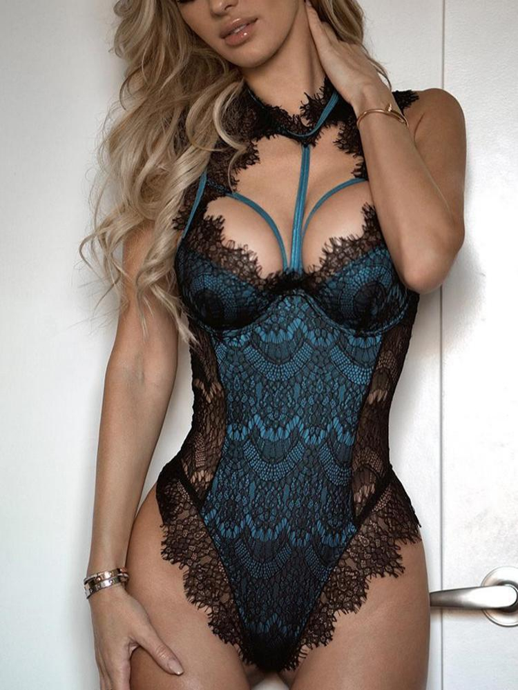 Women Sexy Fashion Alluring Lace Mesh Padded Lingerie Low Cut Sleeveless Bodysuit