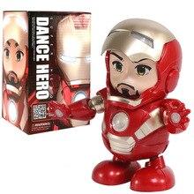 18 CM danza Iron Man Marvel vengadores figura de acción juguete Led linterna con sonido ligero Robot de música Iron Man Hero electrónica de juguete