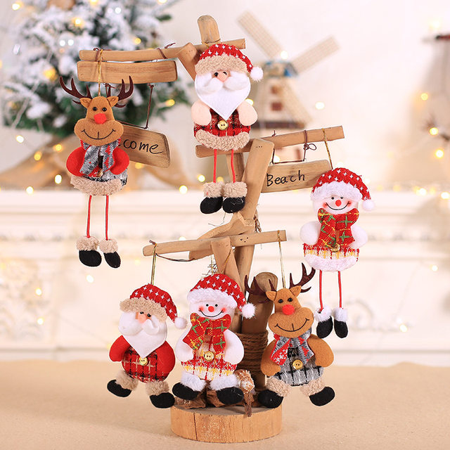 2019 New Small dolls Christmas tree decorations pendant Christmas day children's small gifts hanging lanyard dolls 13