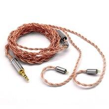 FAAEAL 2Pin כבל היביסקוס 4 ליבה גבוהה טוהר נחושת 3.5mm שדרוג כבל עם 2Pin מחבר עבור TFZ טורנירים KZ FAAEAL