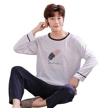 Men's Pajamas Autumn Plus Size 5XL Pyjama Set Pure Cotton Male Home  Costumes Sleep Tops Simple Cartoon Sleepwear with Pants-Leather bag
