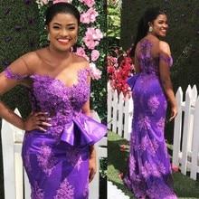 купить Purple African Mermaid Evening Dresses With Sheer Neckline Lace Appliques Plus Size Prom Dress With Peplum Capped  robe de soire дешево