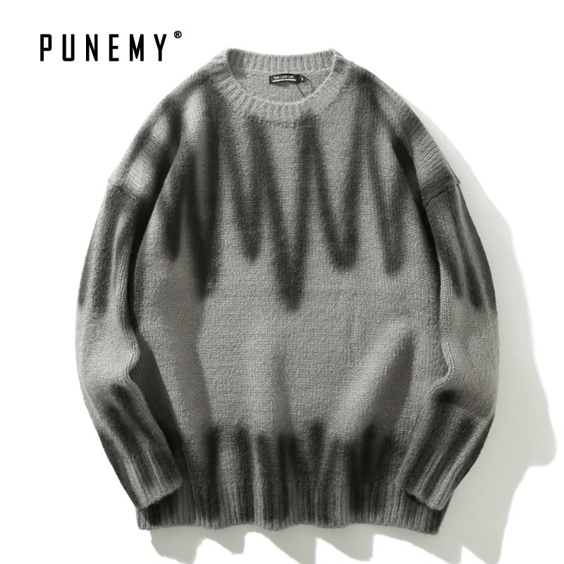 Hip Hop Streetwear Men Sweaters Graffiti Pattern Retro Harajuku O-neck Cotton Oversize Autumn New Fashion New Man's Sweaters