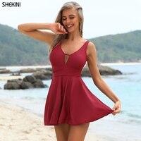 SHEKINI Ruched Skirt One Piece Swimdress Retro Tummy Control Slimming Monokini Bathing Swimsuits Female Suit