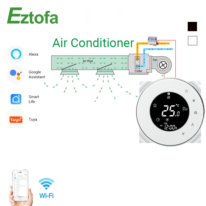 WiFi Smart Touch Thermostat Temperature Controller For 2/4 Pipe Central Air Conditioner 3 Speed Fan Coil Unit Control