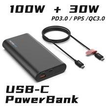 Внешний аккумулятор 130 Вт USB-C PD с 3 портами, 20 в, 100 А, а, 45 Вт, 65 Вт, Вт для XPS Macbook 15 дюймов, 16 дюймов и других устройств Type-C
