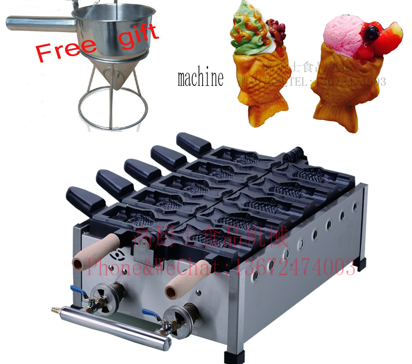 With shipping cost hot selling GAS type 5 pcs Ice Cream Taiyaki maker fish Taiyaki grill come with recipe image