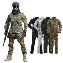 Mundur wojskowy kamuflaż odzież taktyczna kombinezon bojowy mężczyźni armia sił specjalnych Airsoft Militar żołnierz płaszcz + zestaw spodni Maxi XS- tanie tanio CN (pochodzenie) Trip POLIESTER Military spring zipper Pełne Polyester Cotton CAMOUFLAGE multiple colour Camouflage Clothing Suit