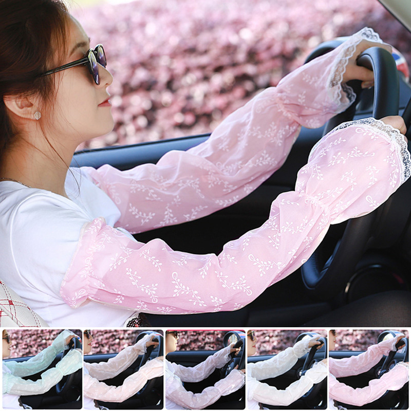 Lady Sunscreen Gloves Long Gloves Sun UV Hand Cover Lace Arm Sleeves For Women Girls Summer BMF88