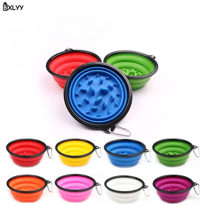 BXLYY Pet Folding Silicone Bowl Slow Food Anti-mast Dog Pot Dog Cat Water Dual-use Basin Outdoor Portable Bowl Pet Accessories.8
