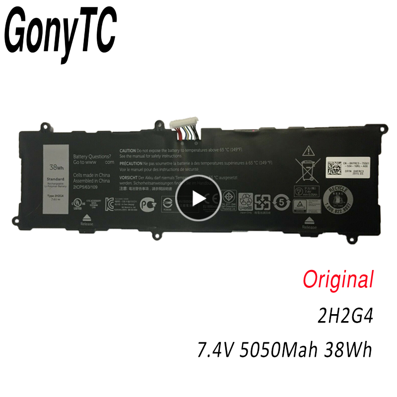 GONYTC 2H2G4 7.4V 38wh Original 2H2G4 Laptop <font><b>Battery</b></font> For <font><b>DELL</b></font> Venue 11 Pro <font><b>7140</b></font> 2H2G4 21CP5/63/105 2217-2548 Tablet image