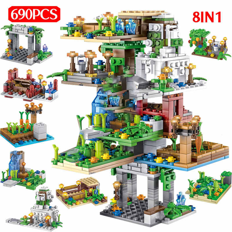 690PCS My World Hanging Garden Building Blocks legoed Minecrafted Tree House Figure 8 IN 1 Bricks Children Toys Christmas