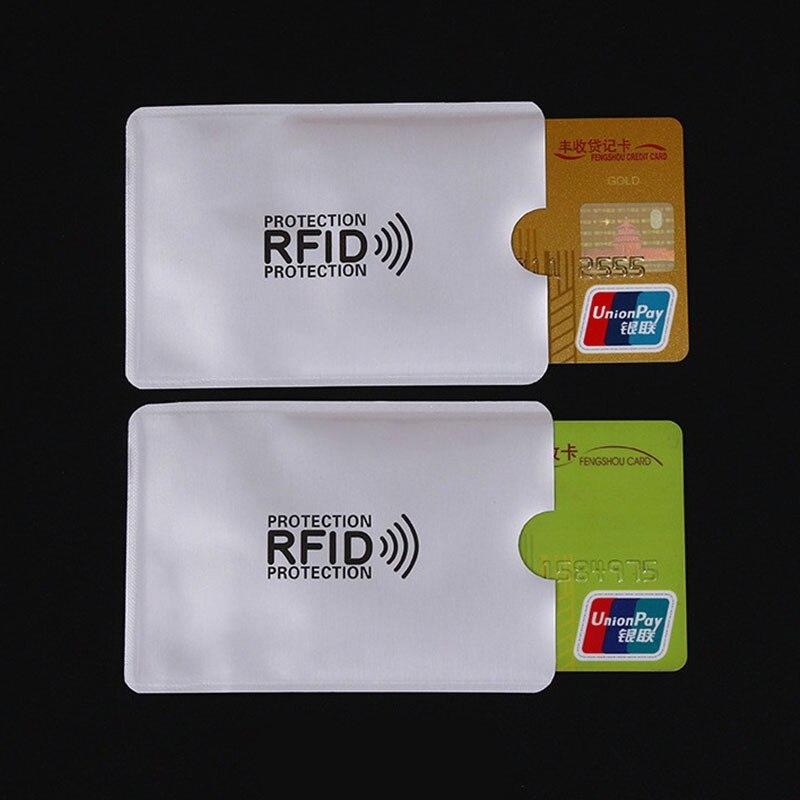 Купить с кэшбэком 5pcs Anti Rfid Wallet Blocking Reader Lock Bank Card Holder Id Bank Card Case Protection Metal Credit NFC Holder Aluminium