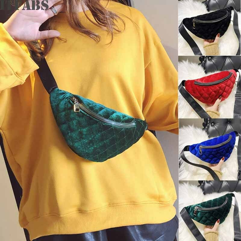 New Female Waist Bag Hip Waist Festival  Belt Bag  Women Sport Waist Bags  Unisex Small Plush Bags