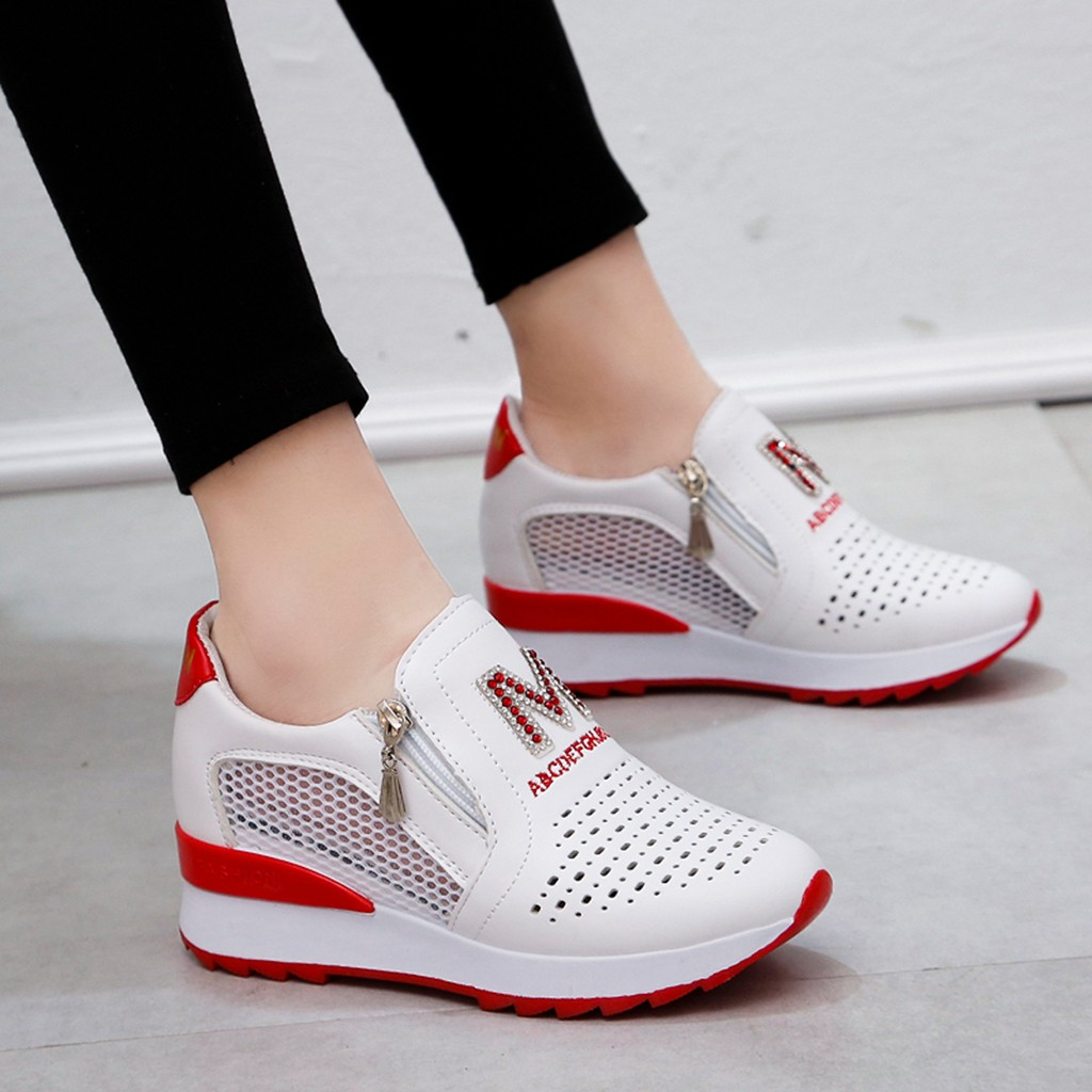 High Platform Sneakers Breathable Women Shoes Slip On Women Shoes Casual Platform Breathable Height Increasing Shoes Wedge